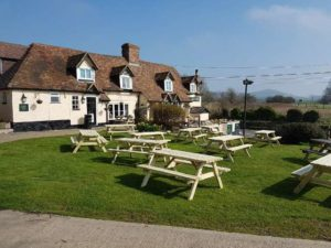 Pub Tables / Picnic Tables at the Drum Inn, Ashford. Built and Supplied by Wells Timber