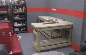 custom wooden work bench in the garage