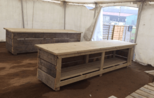 custom wooden work benches for shows and fairs