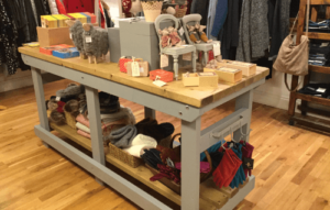 heavy duty wooden work benches used for retail display