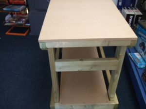 close up mdf topped heavy duty workbench from wells timber products